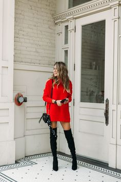 Love oversize sweater dresses paired with over the knee boots!