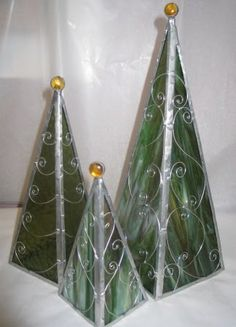 (attach square base plate for votive or tea sized candles) Stained Glass Christmas Trees - moxnme.com