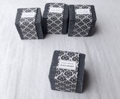 Little cube of black soap with lemon and by BambouchicParis