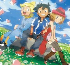 Beautiful ♡ Ash Ketchum and his Kalos friends ^.^ ♡ I give good credit to whoever made this
