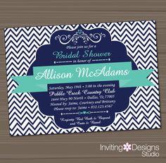 Printable Bridal Shower Invitation, Wedding Shower Invitation, Aqua, Teal, Navy Blue, Customize Colors, Chevron, Vintage, PRINTABLE FILE. $18.00, via Etsy.