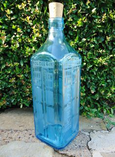 Dr Who Tardis Hand Etched Bottle from a Bombay Sapphire Gin Bottle 1.75 Liters OOAK. $60.00, via Etsy.