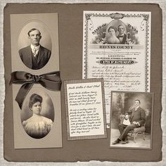 Traditionally designed heritage page with photos and documents.