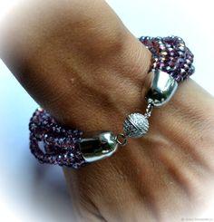 """Купить Браслет """"Purple stars"""" (Кристаллы) - фиолетовый, синий, колье, бусы, подарок, подарок девушке"""