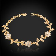 Fashion Jewelry French Romantic Golden Bracelet For Women Yellow Gold Plated Charms Rhinestone Flower Bracelets & Bangles H5175