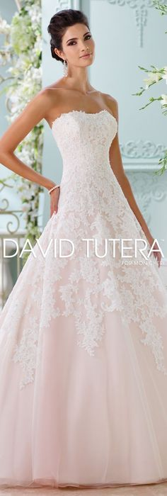 The David Tutera for Mon Cheri Spring 2016 Wedding Gown Collection - Style No. 116202 Soleleil #laceweddingdresses
