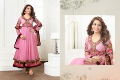 Beautiful Baby Pink Georgette anarkali With heavy work of embroidery en-crafted all over. Matching Pink Shantoon Bottom and Chiffon Duppatta with fine work of embroidery included.