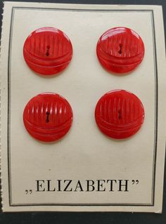 """Vintage Buttons 1950/'s 4 Bright Red Carved Casein 20 mm /""""Elizabeth/"""" Buttons"""