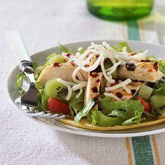 Kiwi Chicken Tostadas. Nutrition Facts Per Serving:  Servings Per Recipe: 4 PER SERVING: 199 cal., 6 g total fat (2 g sat. fat), 43 mg chol., 239 mg sodium, 19 g carb. (4 g fiber), 19 g pro.  Diabetic Exchanges  Fruit (d.e): 0.5; Starch (d.e): 1; Lean Meat (d.e): 2.5