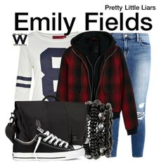 """Pretty Little Liars"" by wearwhatyouwatch ❤ liked on Polyvore featuring J Brand, Boohoo, R13, Mixit, Timbuk2, Converse, television and wearwhatyouwatch"