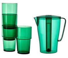 Solfint Pitcher with Lid, 68 Oz with Removable Freezer Insert & (4) Tumblers , Green ~ Ikea - http://teacoffeestore.com/solfint-pitcher-with-lid-68-oz-with-removable-freezer-insert-4-tumblers-green-ikea/