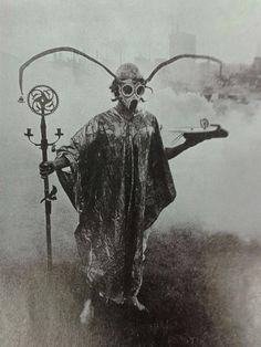 Urban Druid performing spirit sorcery in park.