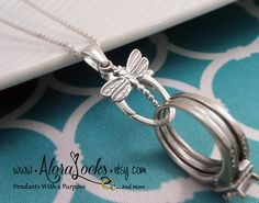 Sterling Silver Dragonfly Wedding Band / Engagement Ring / Charm Holder Necklace / Holding Pendant by AloraLocks