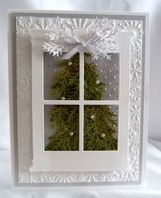 Silver Window Christmas Tree Card...dimensional tree behind acetate window flecked with Perfect Pearl snow dots...