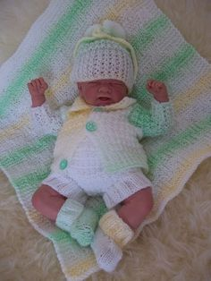 "PDF Knitting Pattern Early Baby or 14-16"" Reborn Dolls - Blanket, Jacket, Hat, Trousers, Bootees - Download Knitting Pattern"