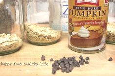 Pumpkin Chocolate Chip overnight oats. My new favorite breakfast. I eat this just about every morning after the gym, and it tastes like dessert, but it's super healthy!