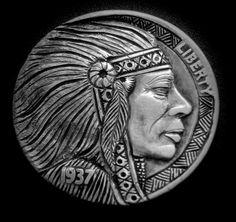 American Coins, Native American, Indian Skull, Indian Theme, Hobo Nickel, Bullion Coins, Art Forms, Sculpture Art, Buffalo