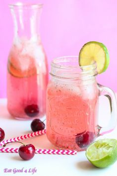 Chia seed cherry limeade. A healthy and low sugar mixer for drinks. Add vodka.