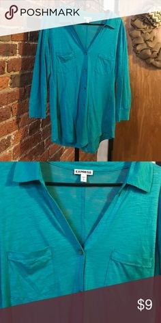 Express button down portofino shirt Excellent condition, pockets on front, buttons down, made from cotton and modal, worn once Express Tops Blouses
