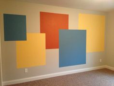 Nursery wall. With yellow gray and accent color.