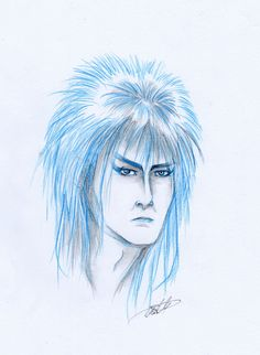 Hello, this is Mercedes and I bring this Goblin King, fabulous.  #actor #beautiful #blue #bowie #fantasy #goblin #labyrinth #goblin_king #illustration #jareth #music #sketch #blue_sketch #david_bowie #jareth_the_goblin_king #quick_sketch #sketch_drawing #sketching #sketch_pencil #portraits #portrait #traditional_art #art