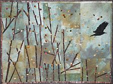 Kathie Briggs - Contemporary Fiber Art - Gallery of Art Quilts: 45 Degrees North - Fauna - On November Winds Bird Quilt, Tree Quilt, Quilt Art, Art Quilting, Fiber Art Quilts, Landscape Quilts, Contemporary Quilts, Textiles, Small Art