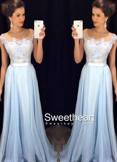 A-line Round Neck Lace Applique Chiffon Long Prom Dress for teens, Pretty Formal Dress