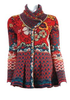 Ivko Jacquard Sweater Jacket - Shawl Collar - Flame Red $328