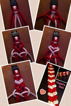 "Cupid's belt--by-- Dman McQ.....You will alternate the red cords after every white,,, for an 8"" bracelet, you will need three 6ft cords"