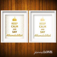 Keep Calm and Say Alhamdulillah | Modern Geometric Islamic Art Printable for the Muslim Home by JannaLove on Etsy