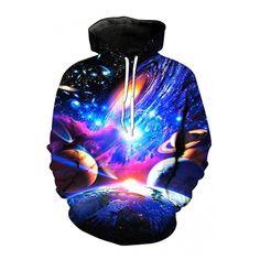 Unisex 3D Galaxy Printed Long Sleeve Hoodie Sweatshirt (£27) ❤ liked on Polyvore featuring tops, hoodies, print hoodies, sweatshirt hoodies, long hooded sweatshirt, hooded sweatshirt and long hoodie