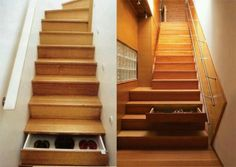 Small Space Storage Ideas: Here's a great idea that utilizes the space beneath the stairs. Turn the steps into drawers. Lots of stairs means lots of storage drawers. Staircase Drawers, Staircase Storage, Stair Storage, Staircase Ideas, Couch Storage, Attic Staircase, Entryway Storage, Staircase Design, Stairs