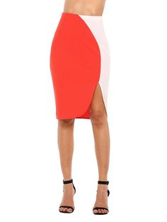Buy Women's Elastic Classic Stitching Midi Slit Pencil Skirt Sexy Bodycon Split Skirts - Orange - and shop more latest Women's Skirts all over the world. After School, Split Skirt, Beach Skirt, Classic Style Women, Sexy Skirt, Woman Beach, Womens Fashion For Work, Printed Skirts, Street Style Women