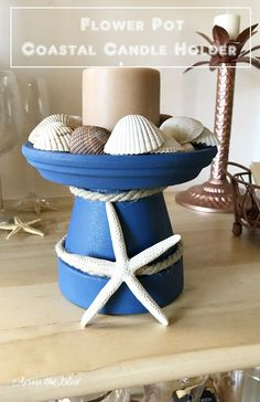 Create a DIY coastal candle holder from a terracotta pot with @bjroderick.