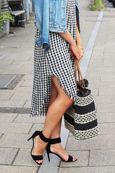 Side Split Gingham Dress Worn With Black Heels And Denim Jacket | Monica Beatrice Welburn | The Elgin Avenue Blog