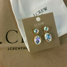 J Crew gold clear stone earrings J Crew gold clear stone earrings J. Crew Jewelry Earrings