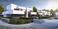 2nd stage of Mamurowe Housing Estate in Lodz / Drugi etap osiedla Marmurowe to trzy nowoczesne budynki w zabudowie bliźniaczej, w których zaprojektowano po cztery niepowtarzalne i komfortowe mieszkania, wyposażone w przestronne tarasy i ogrody. Każdy z apartamentów posiada osobne wejście i wjazd oraz garaż wbudowany w bryłę budynku, dzięki usytuowaniu na wewnętrznej działce z dostępem z dwóch równoległych ulic wewnętrznych. Semi Detached, Detached House, Futuristic City, Home Fashion, Beach Resorts, Townhouse, Mansions, House Styles, Case