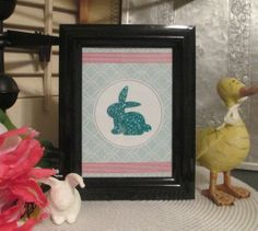 Bunny Glitter Silhouette Easter / Spring Framed by OurBurrowDesign, $15.00