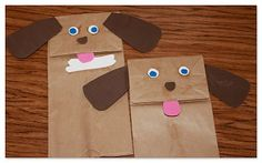 Doggie paper bag puppets
