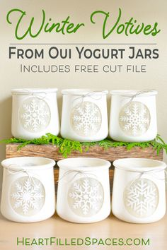 DIY Christmas votives you can leave up all winter. Upcycle those Oui yogurt jars and add some warmth and charm to your home this winter. I've included step by step instructions with free printables and cut files. Crafts With Glass Jars, Mason Jar Crafts, Bottle Crafts, Mason Jars, Diy Jars, Christmas Projects, Holiday Crafts, Christmas Crafts, Snowflake Craft