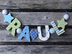 RAUL  WOODEN LETTER DOOR NAME DECORATION PERSONALISED SHABBY CHIC BABY NURSERY
