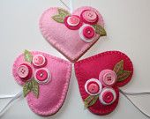 Felt Heart Ornaments (Pink) - Set of 3