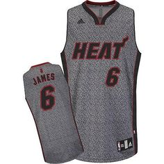 b4b62629d0c Heat  6 LeBron James Grey Static Fashion Stitched NBA Jersey Dwyane Wade  Jersey