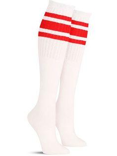 Tube Sock Knee High | White w/ Red Stripes