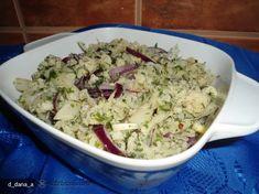 salata de conopida cu ceapa rosie Potato Salad, Healthy Recipes, Healthy Food, Grains, Potatoes, Rice, Ethnic Recipes, Salads, Recipes