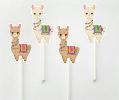 Llama Cupcake Toppers, Llama Cupcake Picks, Llama Birthday, Llama Party, Llama Decorations, Llama Party Supplies Cupcake Picks, Cupcake Toppers, Small Gift Bags, Small Gifts, Favor Bags, Goodie Bags, Fire Cupcakes, Peacock Cupcakes, Garbage Truck Party