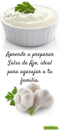 Learn to prepare Garlic Sauce # Tapas, Salsa Ajo, Cooking Recipes, Healthy Recipes, Garlic Sauce, Sin Gluten, Salud Natural, Finger Foods, Food Porn