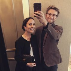 Toronto Film Festival first night mirror selfie with the missus Simon Baker, I Love Simon, Festival One, Robin Tunney, Toronto Film Festival, Patrick Jane, The Mentalist, Partners In Crime, First Night