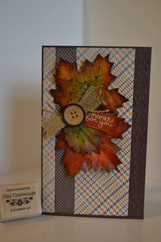 Stampin Up Fall Card made with Autumn Accents Bigz Die, Weather Sweater DSP and Naturals Designer Buttons.