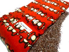 """FLAX HEATING PAD, large 8 X 18 in Removable/Washable Flannel cover, Red Flannel monkeys and more, Great Gift, 100% flax seed """"The FLaX SaK"""""""